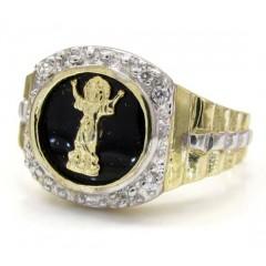10k Yellow Gold Cz Jesus Ring 0.20ct