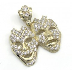 10k Yellow Gold Large Cz Laugh Now Cry Later Pendant 2.60ct