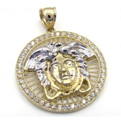 10K Yellow Gold Small Halo Medusa Head CZ Pendant