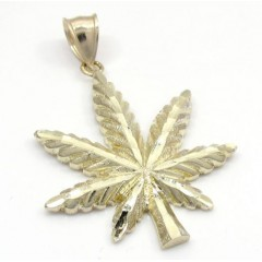 10k Solid Yellow Gold Diamond Cut Weed Leaf Pendant