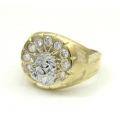 10k Yellow Gold Cz Jesus Face Ring 0.36ct