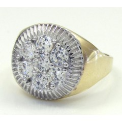 10k Yellow Gold Cz Presidential Cluster Ring 0.70ct