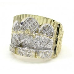10k Yellow Gold Jesus And The Twelve Disciples Cz Ring 0.15ct