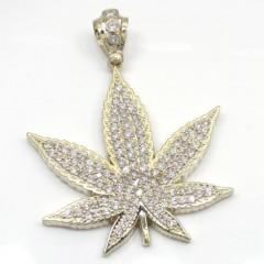 10k Solid Yellow Gold Large Cz Marijuana Leaf Pendant 3.25ct