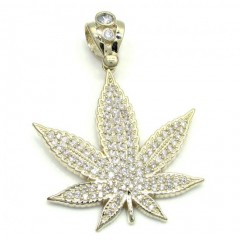 10k Solid Yellow Gold Medium Cz Marijuana Leaf Pendant 2.75ct