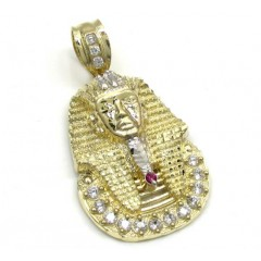10k Yellow Gold Cz King Tut Pharaoh Head Pendant 0.30ct