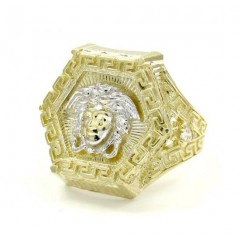 Mens 10k Yellow Gold Cz Hexagon Medusa Ring .10CT