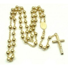 Yellow Sterling Silver Rosary Chain Necklace 26 Inches 6mm
