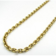 14k Yellow Gold Solid Tight Link Cable Chain 22 Inch 2.20mm