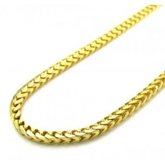 14k Yellow Gold Solid Skinny Franco Link Chain 22-26 Inch 1.7mm