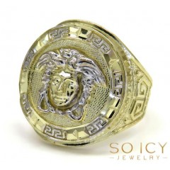Mens 10k Yellow Gold Oval Medusa Ring