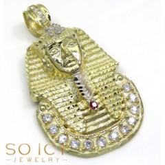10k Yellow Gold Large Cz King Tut Pharaoh Head Pendant 0.70ct