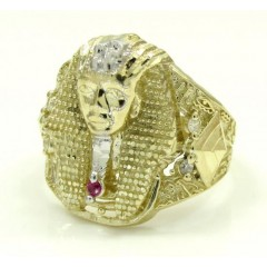 10k Yellow Gold Medium Cz King Tut Pharaoh Head Ring 0.10ct