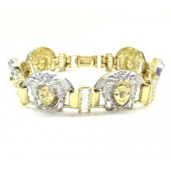 10k Yellow Two Tone Gold Medusa Head Bracelet 9 Inch 2.80ct