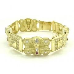 10k Yellow Gold Cz King Tut Pharaoh Head Bracelet 8.50 Inches 3.75ct