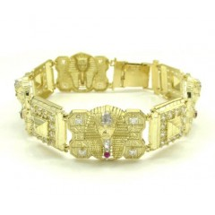 10k Yellow Gold Cz King Tut Pharaoh Head Bracelet 8.50 Inches 3.75ct