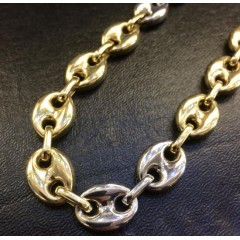 14k Two Tone Gold Gucci Puff Link Chain 26 Inches 14mm