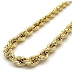 10k Yellow Gold Smooth Rope Chain 26-30 Inch 5.50mm
