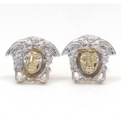 10k Yellow Gold Mini Medusa Head Earrings