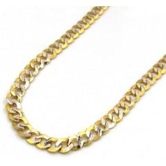 10k Yellow Gold Diamond Sharp Edge Cut Cuban Chain 16-24 Inch 3.2mm