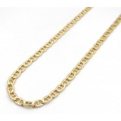 10k Yellow Gold Skinny Puffed Mariner Chain 20-26 Inch 2.50mm