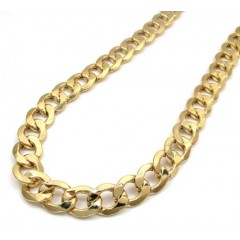 10k Yellow Gold Thick Hollow Cuban Chain 26-30 Inch 11mm