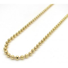 10k Yellow Gold Hexagon Cut Ball Chain 22-26 Inch 2mm