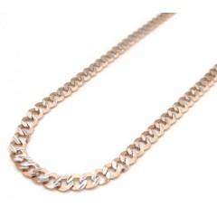10k Rose Gold Diamond Sharp Edge Cut Cuban Chain 18-24 Inch 3mm
