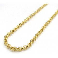 10k Yellow Gold Hollow Rolo Chain 18-24 Inch 2mm