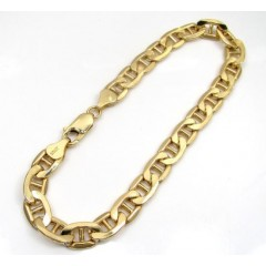 10k Yellow Gold Puffed Mariner Bracelet 8 Inch 7mm