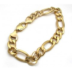 10k Yellow Gold Thick Hollow Figaro Bracelet 9.25inch 12mm