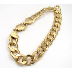 10k Yellow Gold Thick Hollow Cuban Bracelet 9 Inch 11mm