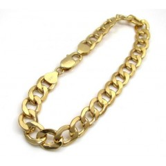 10k Yellow Gold Thick Hollow Cuban Bracelet 7.75 Inch 9mm