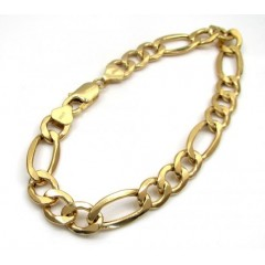 10k Yellow Gold Thick Hollow Figaro Bracelet 8.75 Inch 9.30mm