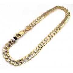 10k Yellow Gold Diamond Sharp Edge Cut Cuban Bracelet 8 Inch 5mm