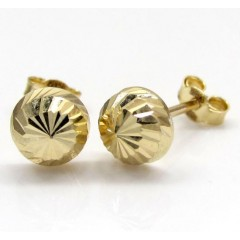 14k Yellow Gold Diamond Cut 6mm Sphere Earrings
