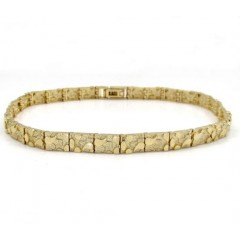 10k Yellow Gold Solid Skinny Nugget Bracelet 9 Inch