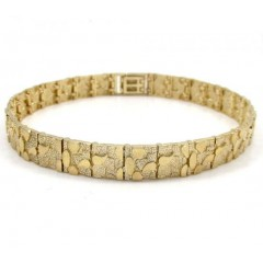 10k Yellow Gold Solid Medium Nugget Bracelet 9 Inch