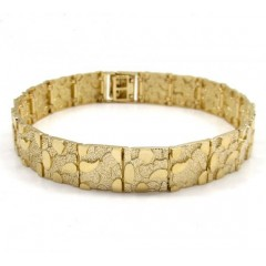 10k Yellow Gold Solid Nugget Bracelet 8.50 Inch 11mm