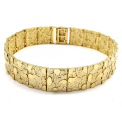 10k Yellow Gold Solid Large Nugget Bracelet 9 Inch
