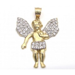 10k Yellow Gold Medium Cz Baby Cherub Angel Pendant 1.75ct