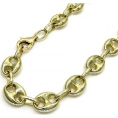 10k Yellow Gold Puffed Mini Gucci Hollow Bracelet 8 Inch 6.50mm