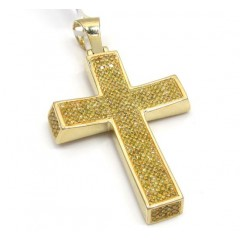 10k Yellow Gold Canary Diamond Concave Cross 1.30ct