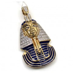 14k Yellow Gold Blue Enamel King Tut Pharaoh Pendant 0.82ct