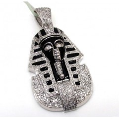 10k White Gold Black Enamel King Tut Pharaoh Pendant 2.54ct