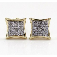 10k Gold 3 Row Diamond Kite Earrings  0.07ct
