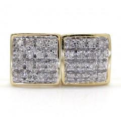 10k Gold 4 Row Diamond Earrings 0.12ct