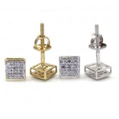 10k Gold 3 Row Diamond Earrings  0.07ct