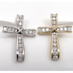 10k Gold Bow Tie Diamond Cross 0.25ct