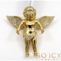 14k Solid Gold Baby Cherub Angel Vs Pendant 0.40ct